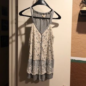 Gray tank top with lace front